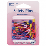 Hemline Safety Pins - 34mm With Coloured Coatings - 50 pack